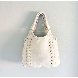 NWOT ST. JOHN Alabaster Wool Satchel Hobo Bag